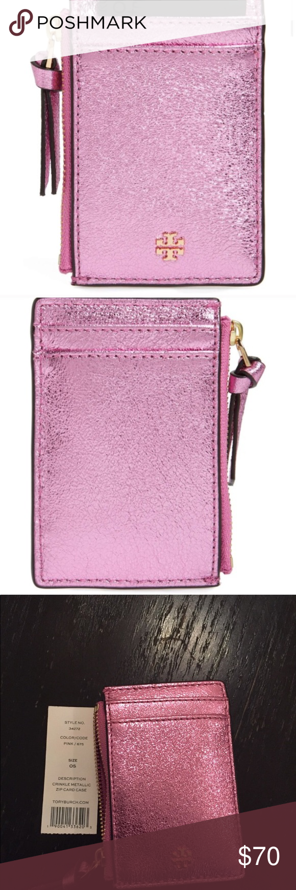 50597616c10f New Tory Burch crinkle metallic card case Crinkled-finish metallic leather  adds luxe polish to a compact zip-top card case sized just right to hold  the ...