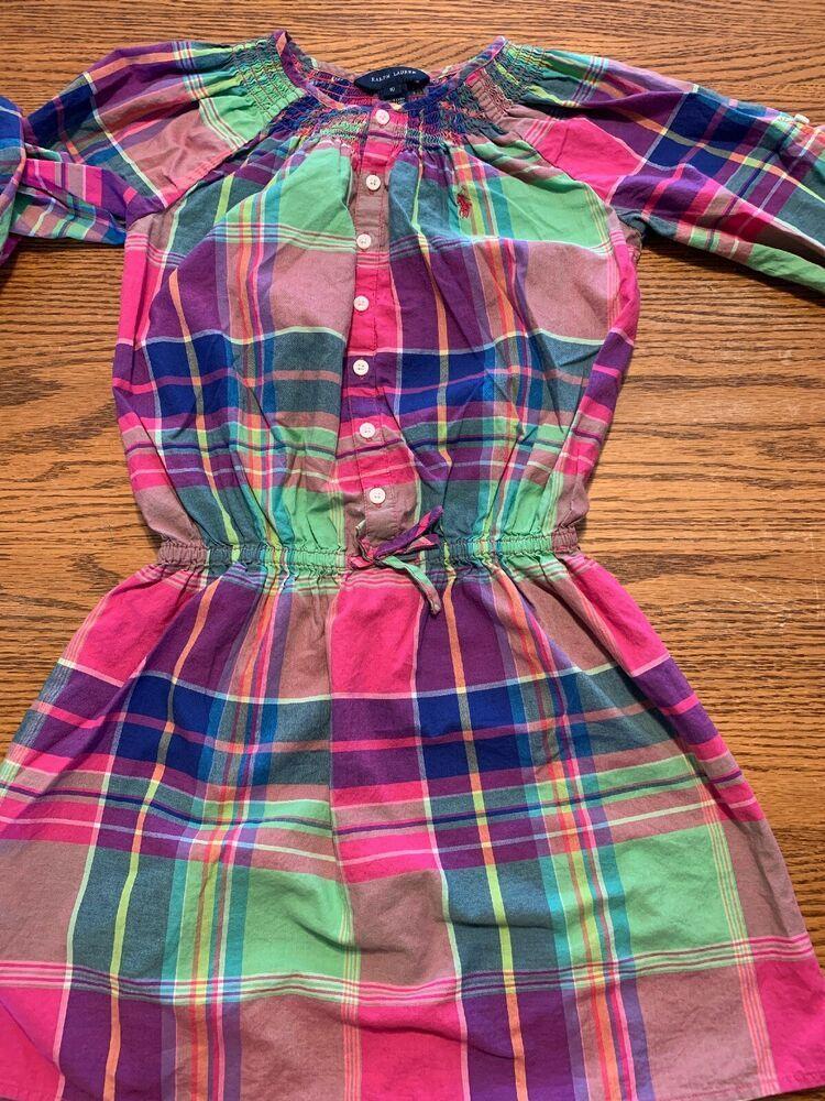 0c6539f0a Ralph Lauren Girls Size 10Long Sleeve Madras Plaid Shirt Dress | eBay