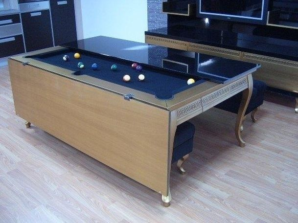 This Dining Table That Unfolds Into A Pool Table Pool Table Dining Table Dining Room Pool Table Unique Furniture Design
