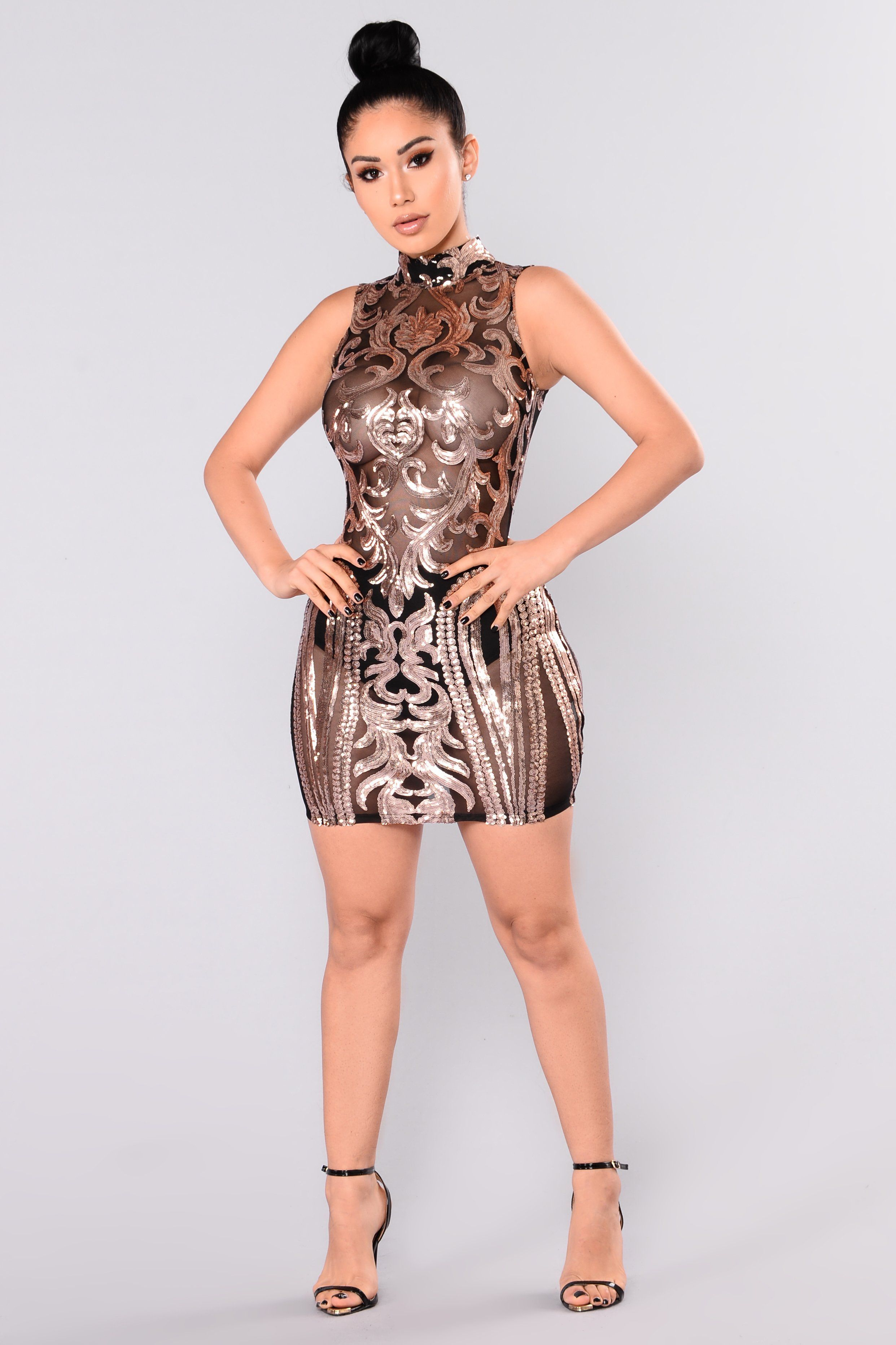 4c11d12b8928 Available In Black/Rose Gold Damask Sequin Dress Mock Neck Sleeveless 100%  Polyester