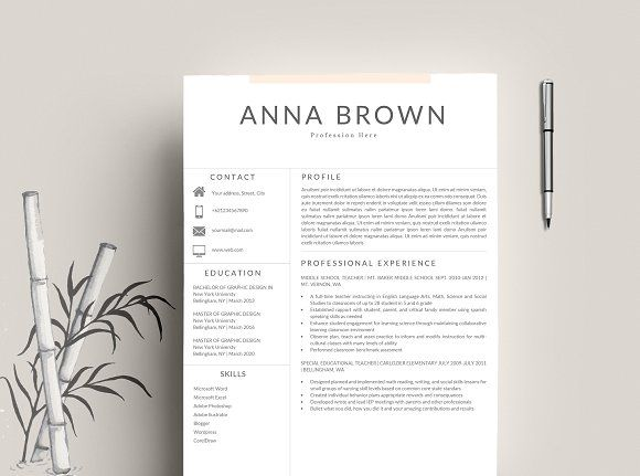2 Page) Resume Template Word by Quality Resume on @creativemarket - 2 page resume