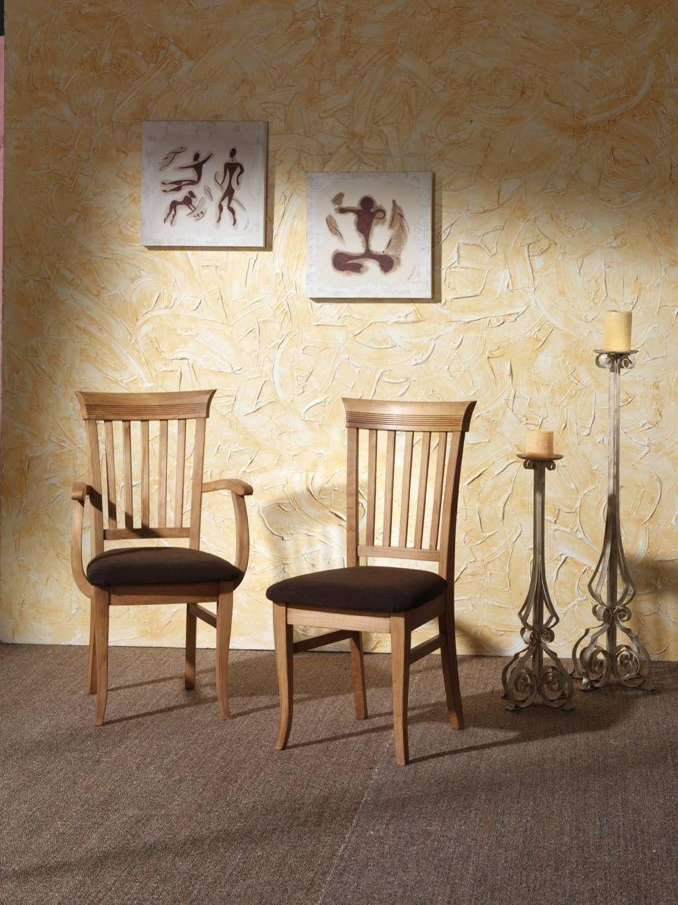 Silla de comedor m 99 de madera de pino maciza con for Disenos de sillas de madera para comedor