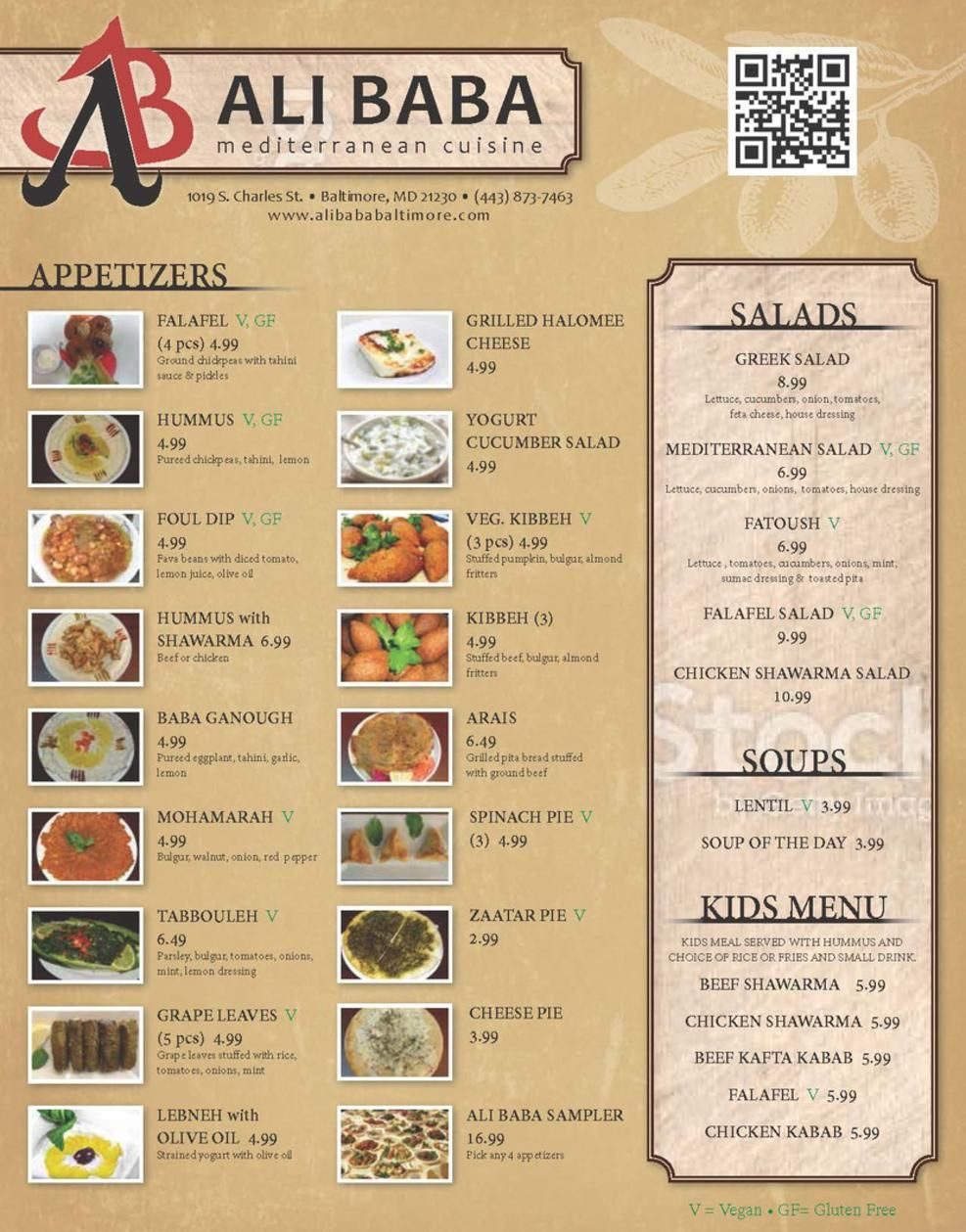 Menu for ali baba mediterranean cuisine in baltimore for Ali baba mediterranean cuisine