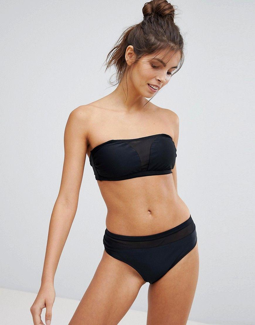 Black Bandeau Bikini With Mesh Insert - Black Vero Moda Cheap Online Store Mt9Ug9LQ