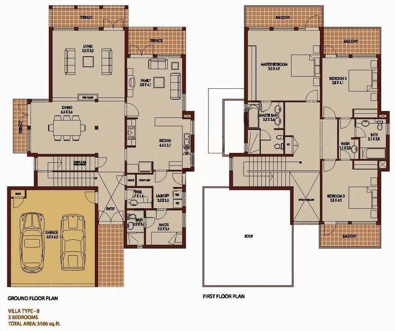 3 bedroom 3166 sq ft saheel arabian ranches dubai for Dubai house floor plans