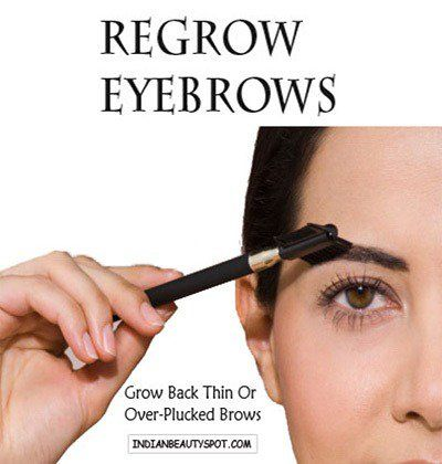Regrow Eyebrows using natural remedies to grow out over plucked or thin eyebrows back faster.  1. STOP TWEEZING: The first step on how to grow eyebrows back faster is to put down your tweezers and leave your brows untouched for a while.. Till you wait for the eyebrows to grow back, fill in with brow powder and blend together by using a spooly brush or clean mascara wand. 2. EXFOLIATE: Use a soft tooth brush and brush through your eyebrows to exfoliate and stimulate growth. Read here to know…