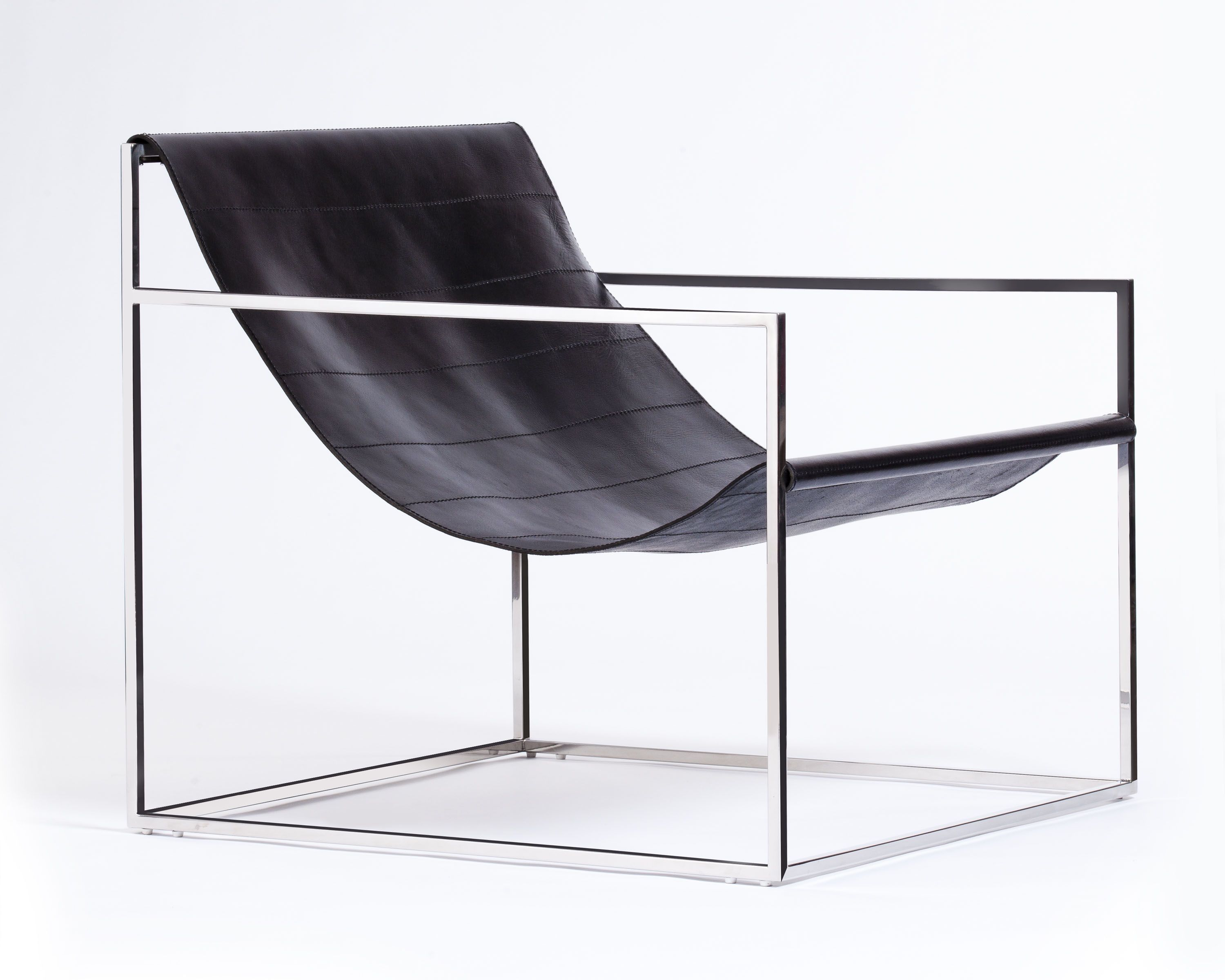 Egg Designs Sling chair, polished stainless steel & leather
