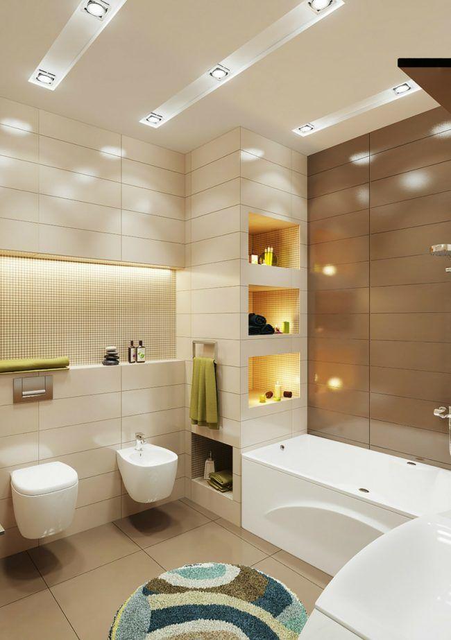 Badezimmer Kleines Beleuchtung Idee Einbauregal Indirekt Licht Bidet Kleine Badezimmer Design Badezimmereinrichtung Bad Styling