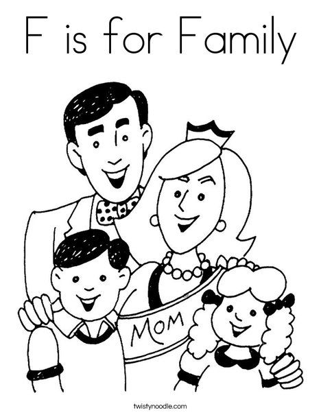 F Is For Family Coloring Page Twisty Noodle Free