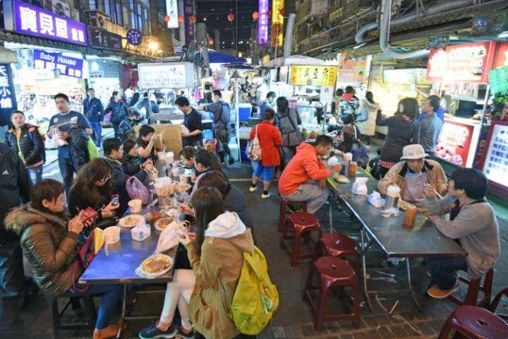 A dining area at the Rahoe Street night market in Taipei