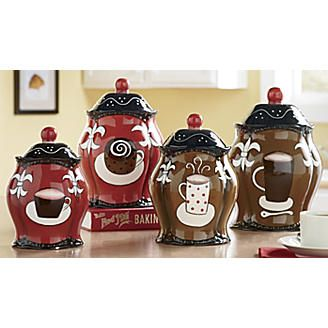 Coffee Themed Canisters Coffee Decor Kitchen Coffee Theme