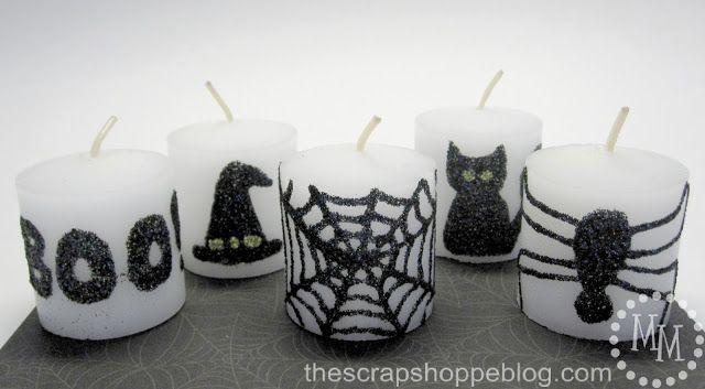 Kerzen mit Glitzerkleber verzieren