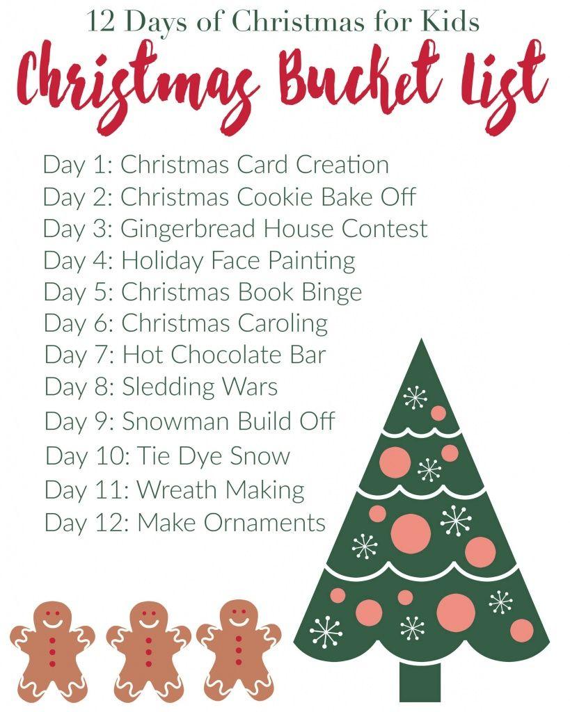 Christmas Bucket List 12 Days Of Christmas For Kids