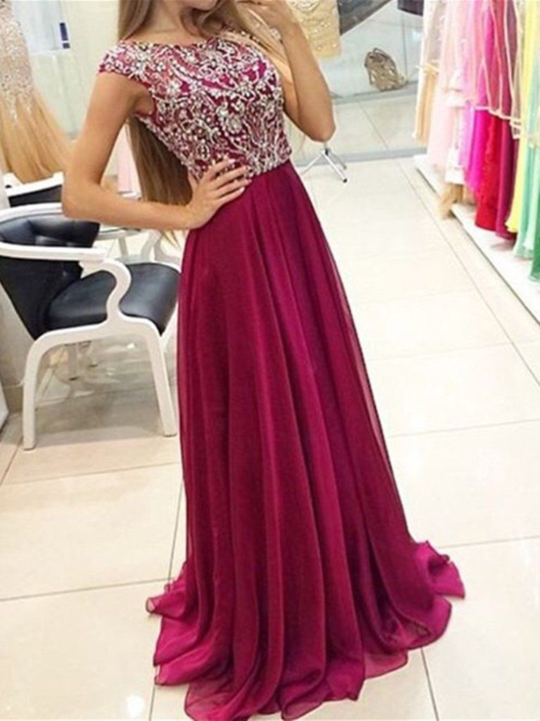Chic Bateau Cap Sleeves Sweep Train Grape Prom Dress With Beading