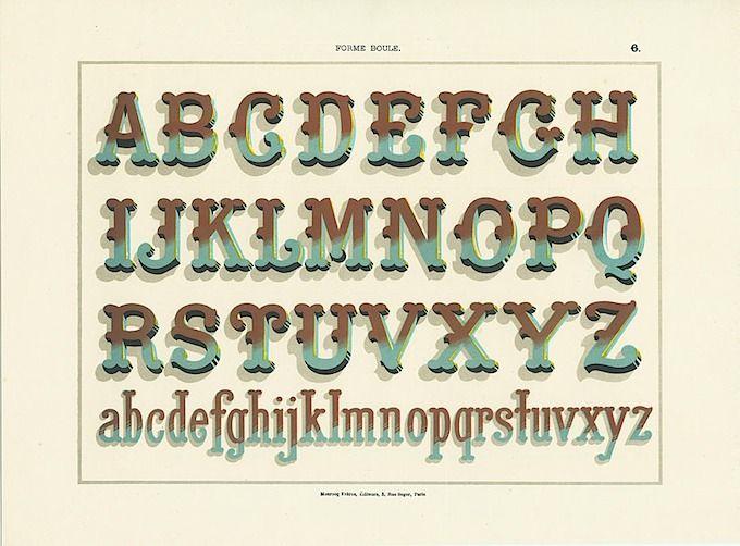 Decorative Type Font Specimen Showing Monrocq Freres Paris Ca 1890s Hand Lettering Fonts Vintage Typography Typography Letters