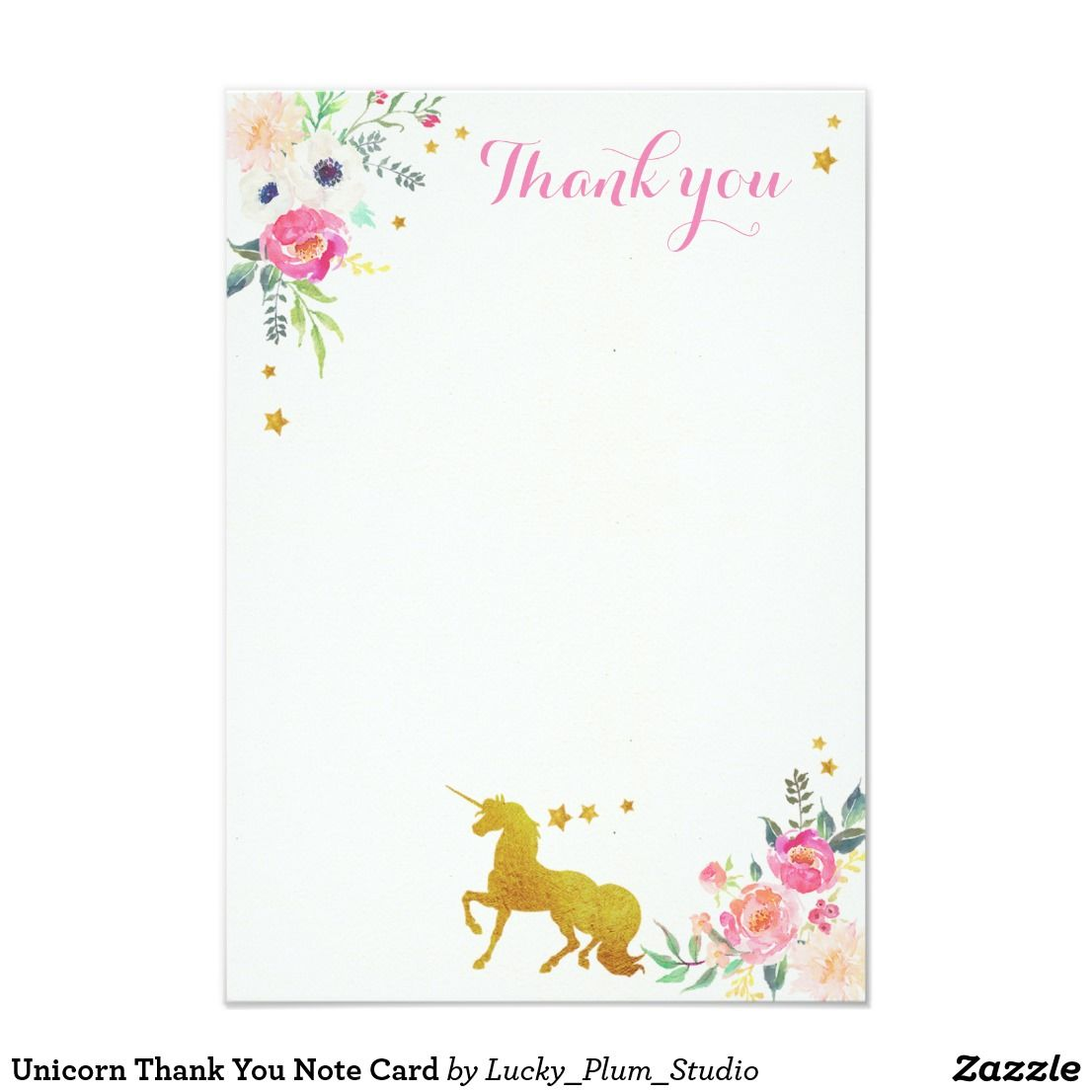 Unicorn Thank You Note Card  Unicorns Note And Cards