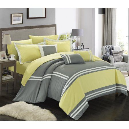Chic Home 10-Piece Georgette Super soft Oversized-Pieced color block banding collection King Bed In a Bag Comforter Set Yellow With sheet set
