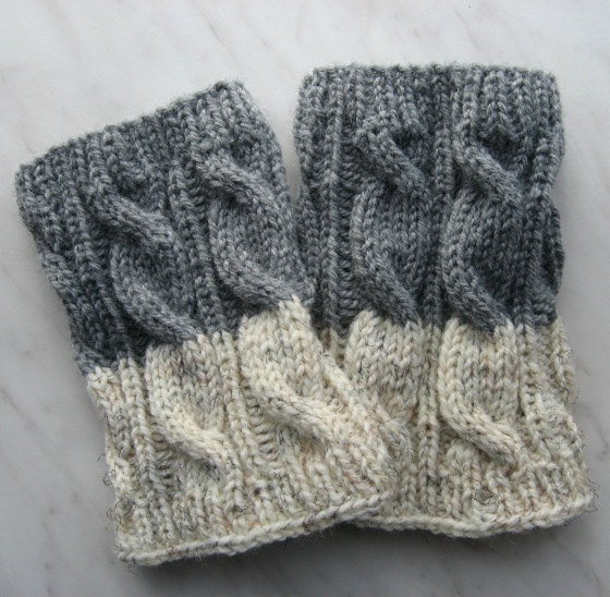 Knit Boot Cuff, Leg Warmers 2in1 Grey and Oatmeal color, wellies ...