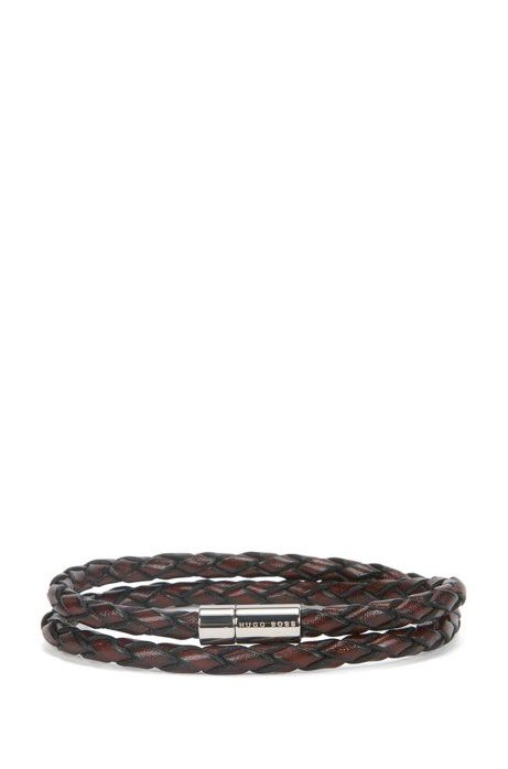 a3892a4ef89bb Hugo Boss 'boris' | Leather Double-Wrap Bracelet - Dark Blue S ...