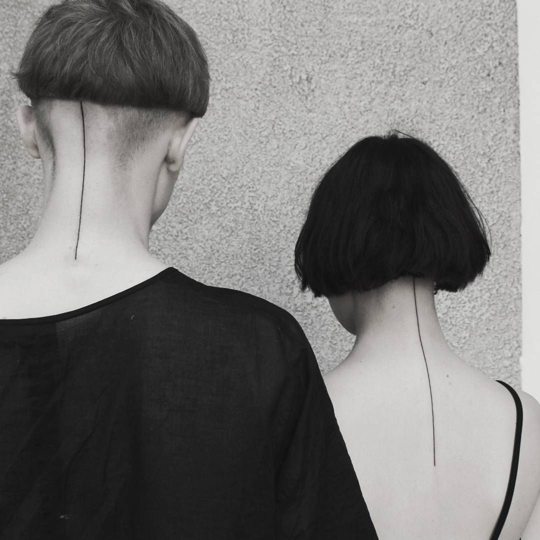 Matching Neck Lines By Aga Kura Line Tattoos One Line Tattoo Matching Couple Tattoos