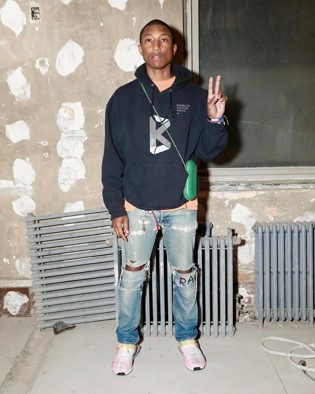 official photos 63e2d 108fd Pharrell Williams Wears Chanel Case, Brooklyn Machine Works Hoodie, G-Star  Raw Jeans and Adidas NMD Sneakers   UpscaleHype