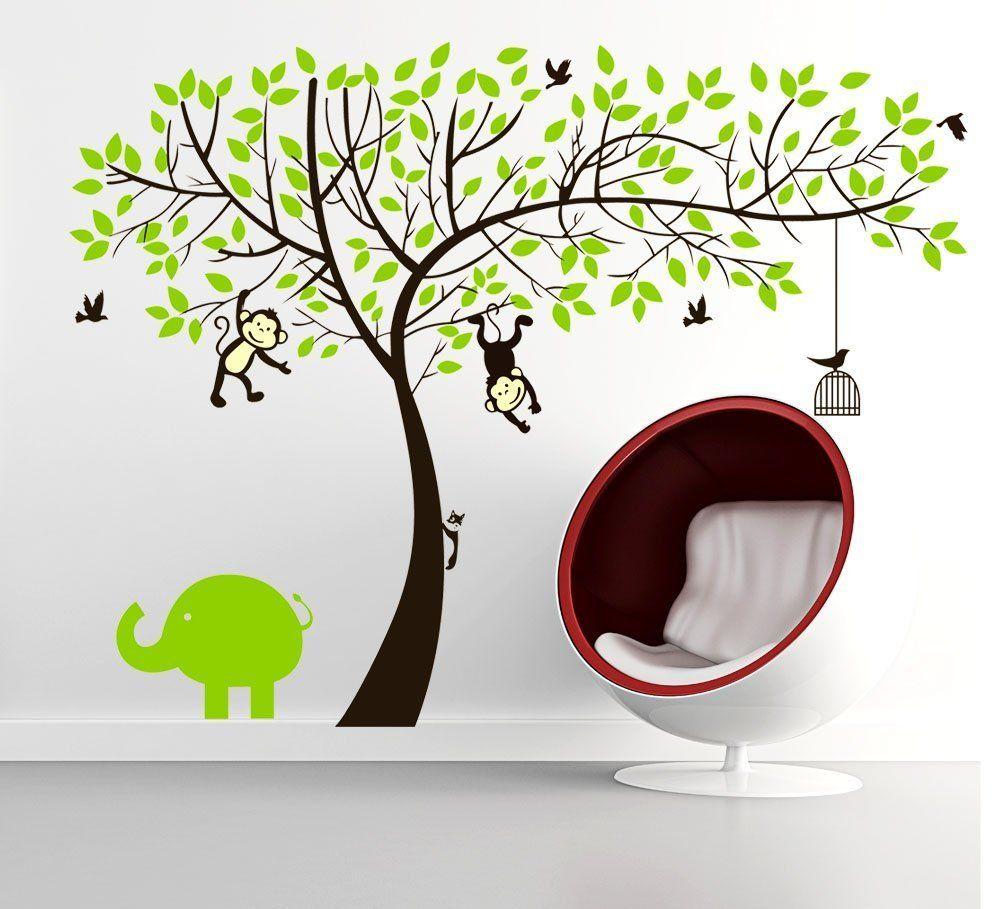 Colorfulworld® Affe und Elefant Spielen auf Riesenbaum PVC ...
