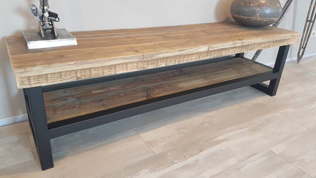 tv meubel hout staal naar wens samen te stellen firma hout