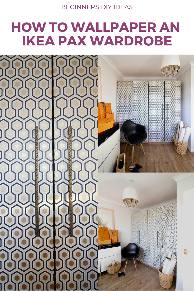 How to wallpaper an IKEA PAX wardrobe with geometric