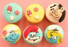 so cute, Smurf cupcakes! :D except for Gargamel, I hope I spelled it right lol :D