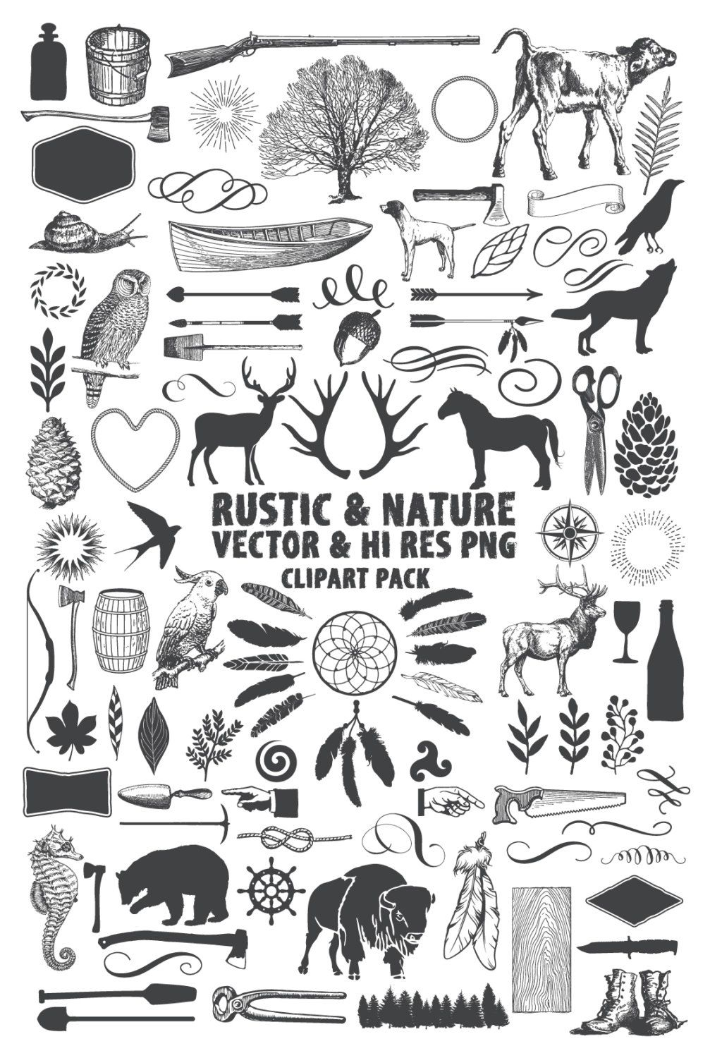 Instant Download 101 Rustic Nature Hunting Adventure Wilderness Vector Pack Design Elements Clipart Clip Art And PNG Files December 30