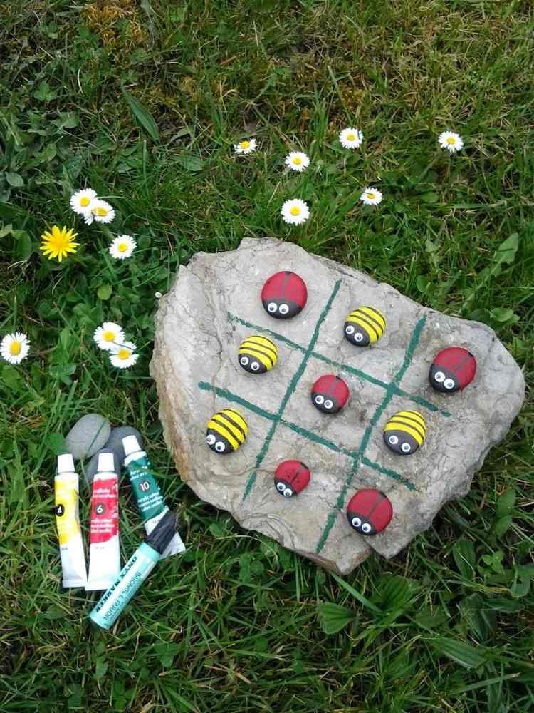 tic tac toe spiel mit steinen basteln | basteln mit kindern, Gartenarbeit ideen