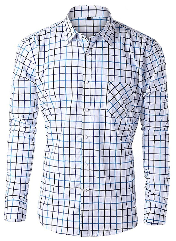 Mens Striped Dress Shirt Long Sleeve Slim Fit Stripe Button Down