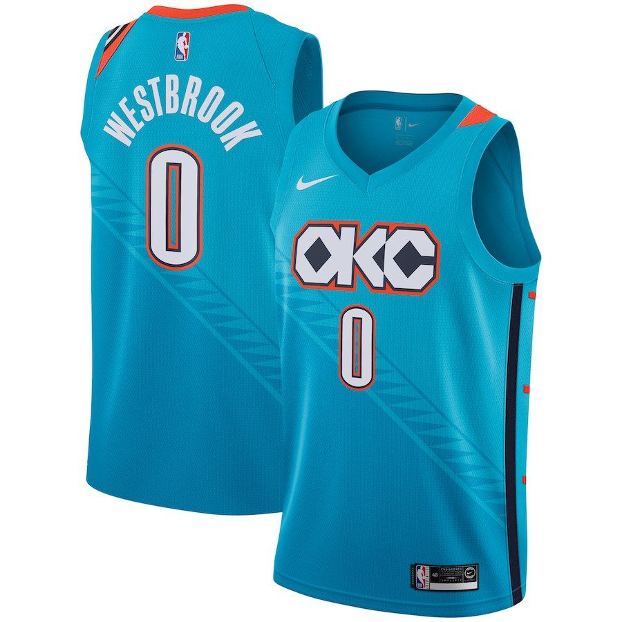 31703d7ca6f5 Men s Oklahoma City Thunder Russell Westbrook Nike Turquoise 2018 19 Swingman  Jersey – City Edition