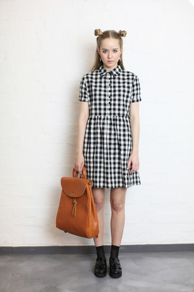Gingham Check Shirt Mini Dress from The White Pepper