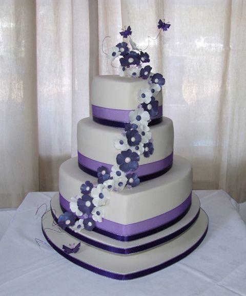 Ivory Purple Heart Wedding Cake Heart wedding cakes Purple