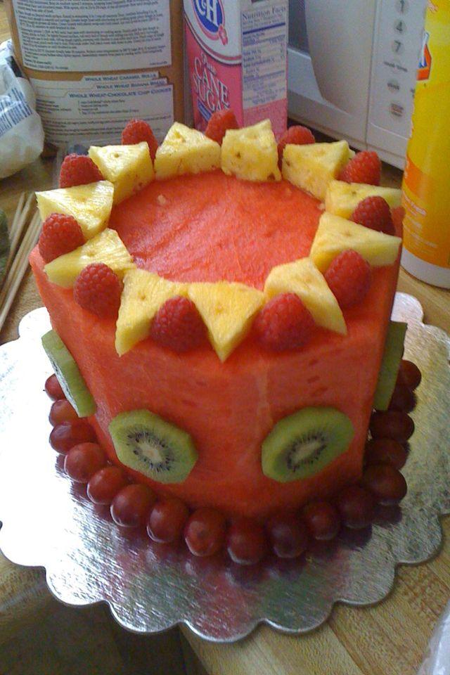 Fabulous Healthy Alternative To Cake Melon Bday Cake Birthday Cake Funny Birthday Cards Online Alyptdamsfinfo