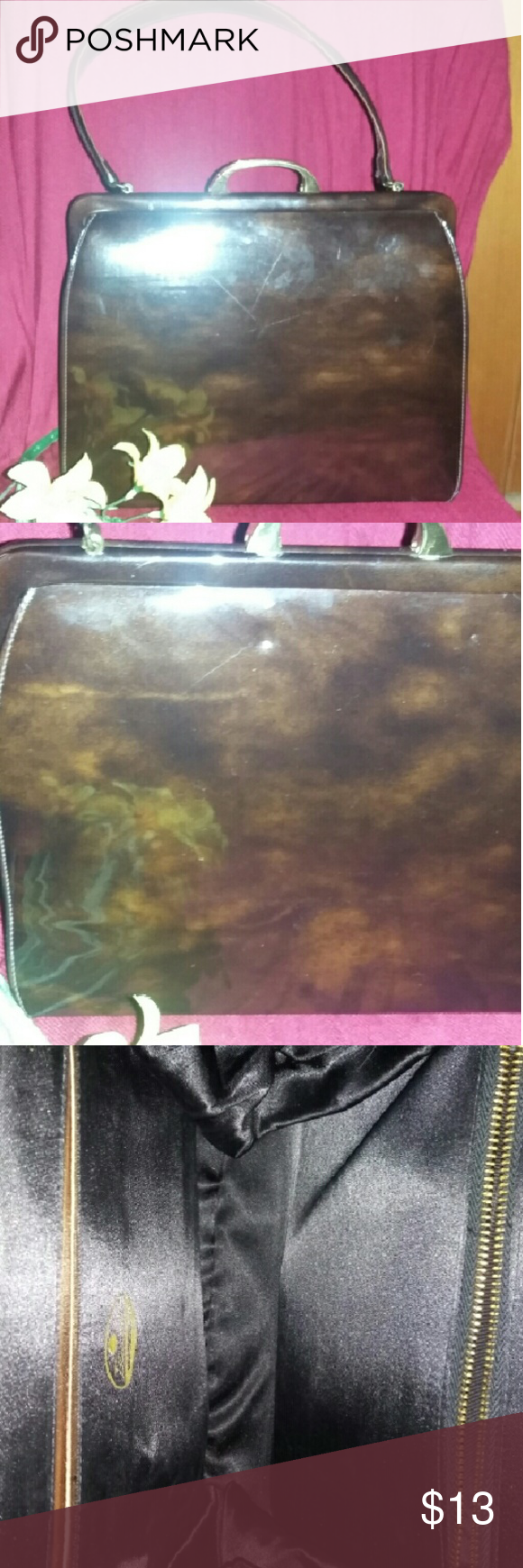Vintage Patent Handbag Super gorgeous vintage tigers eye color hand bag, amazing condition flawless on the inside, only flaws are some scratches and some small dents. Super cute and perfect for any rockabilly outfit. #rockabilly#patent#50's#vintage vintage Bags Satchels