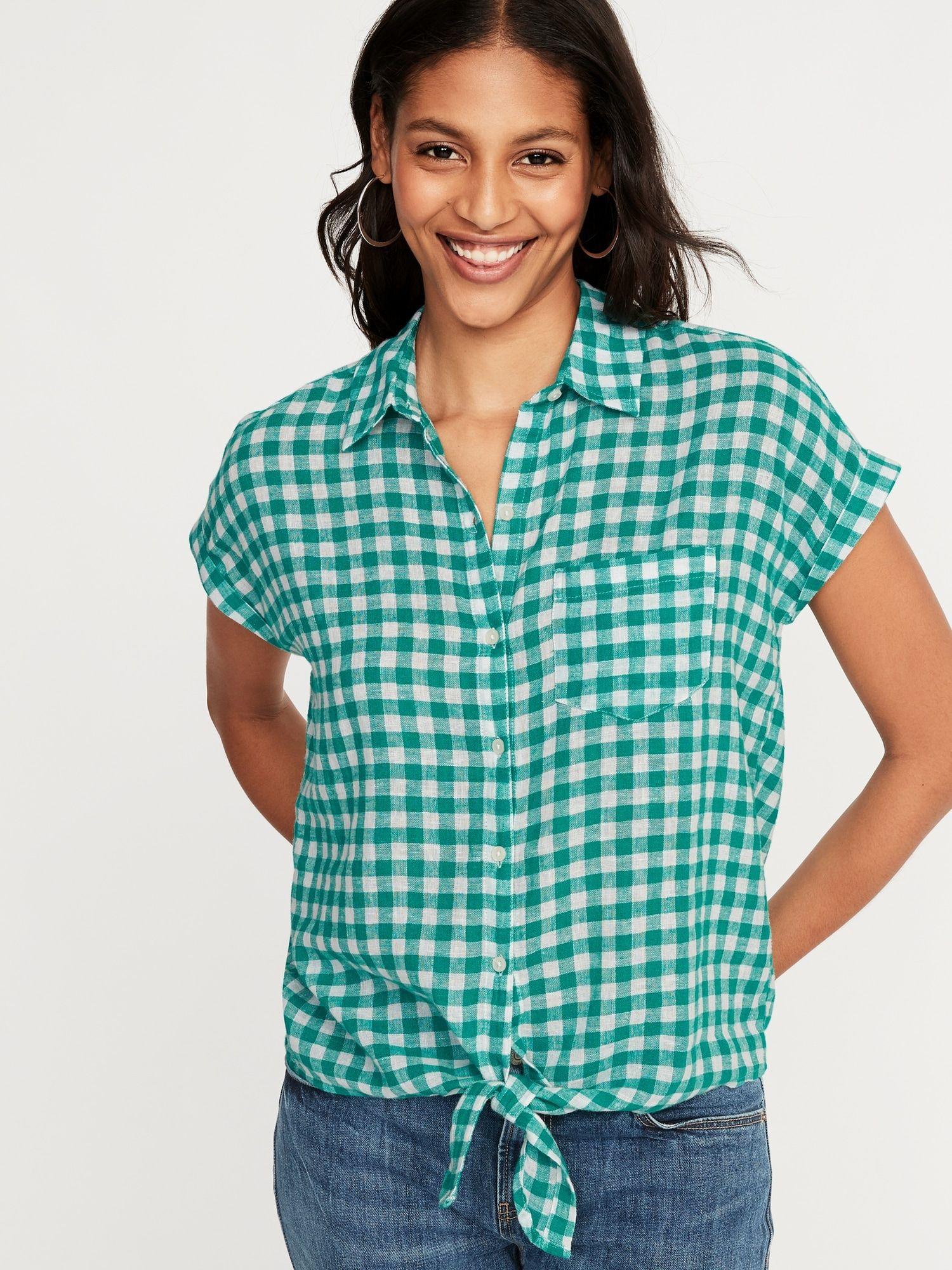 ea9e27a5e Patterned Tie-Hem Linen-Blend Shirt for Women in 2019   We Never Go ...