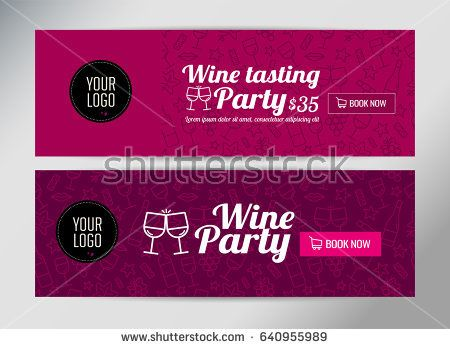 Banner template, flyer or gift card for wine event or promotion - event card template