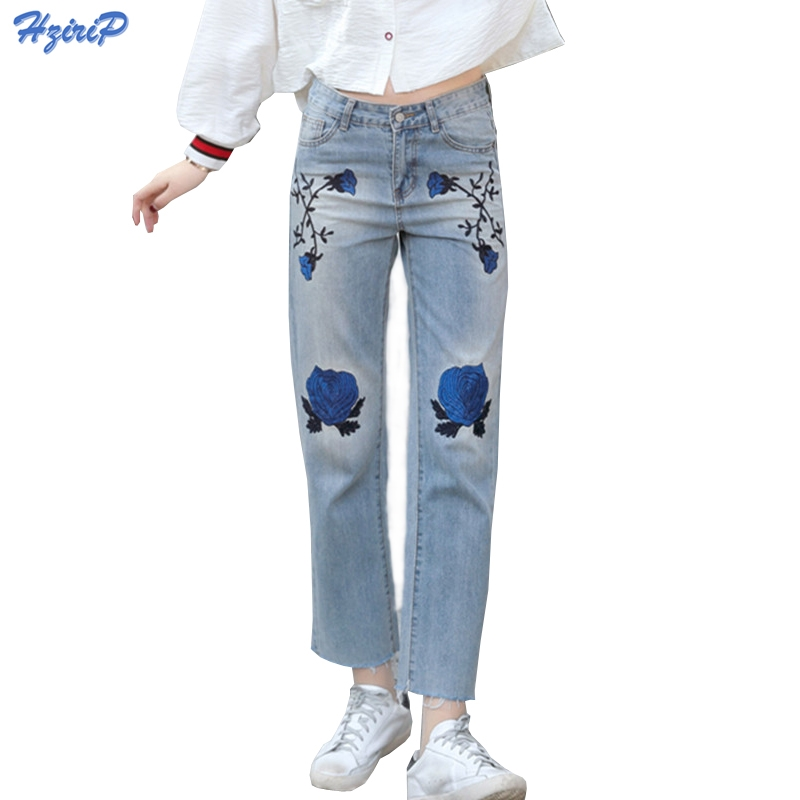 17.99$  Watch now - http://alioje.shopchina.info/go.php?t=32790525250 - American Apparel 2017 Spring New Women Jeans With Embroidery Straight Trousers Summer Fashion High Waist Jeans Denim Pants Femme  #buyonlinewebsite