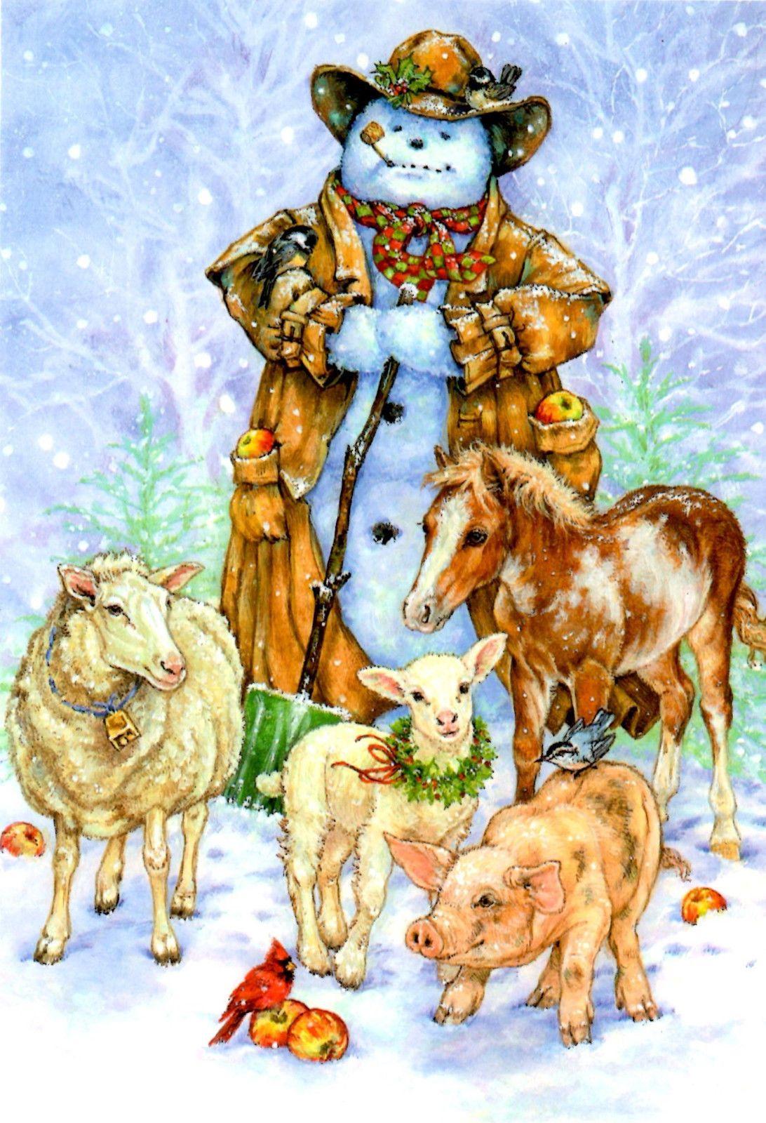 Cowboy Snowman w Animals Christmas Cards Leanin' Tree Box
