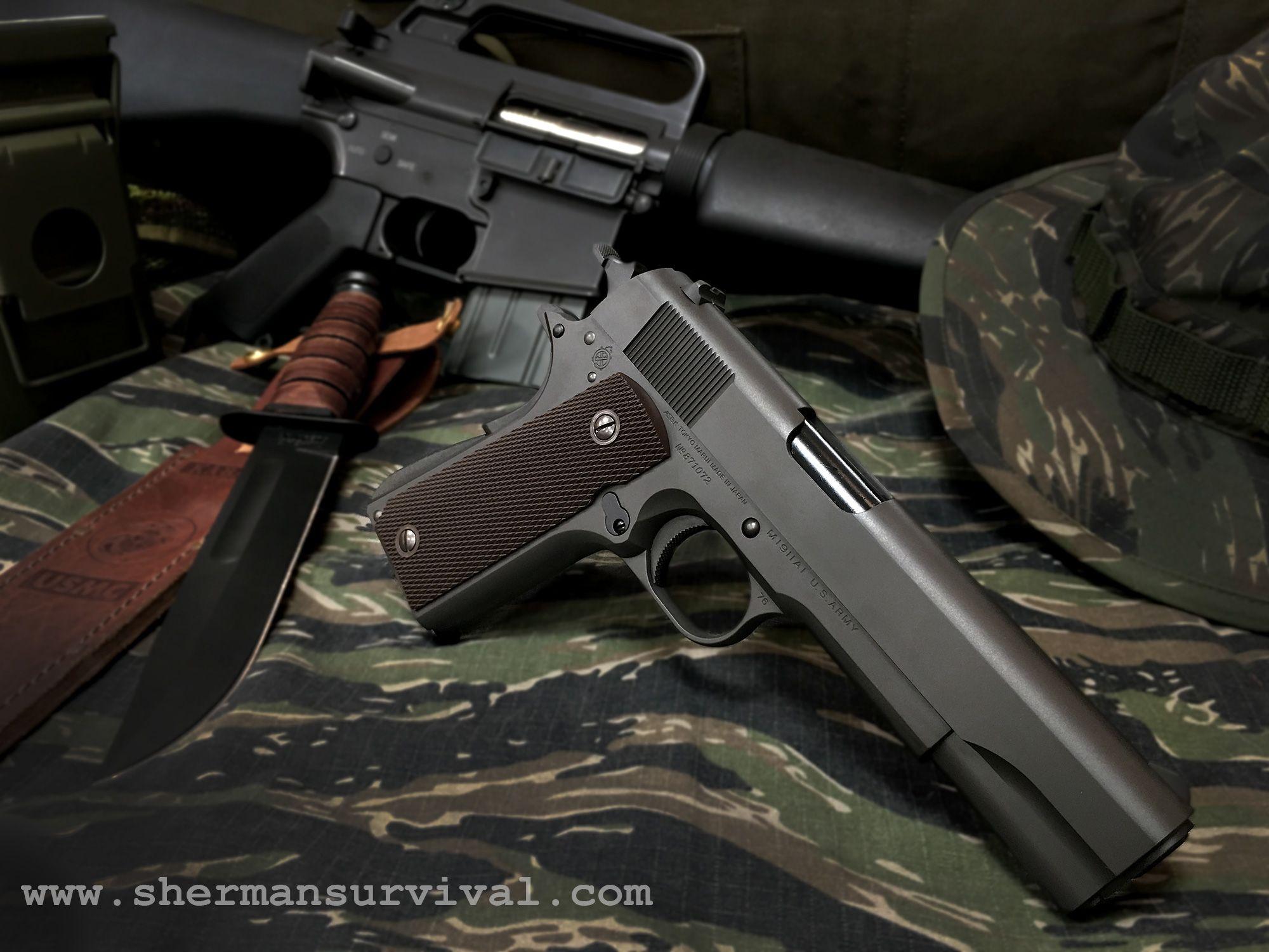 Préférence Airsoft #tokyoMarui 1911, cuchillo Ka-bar, M16 Vietnam Devgru  HK12