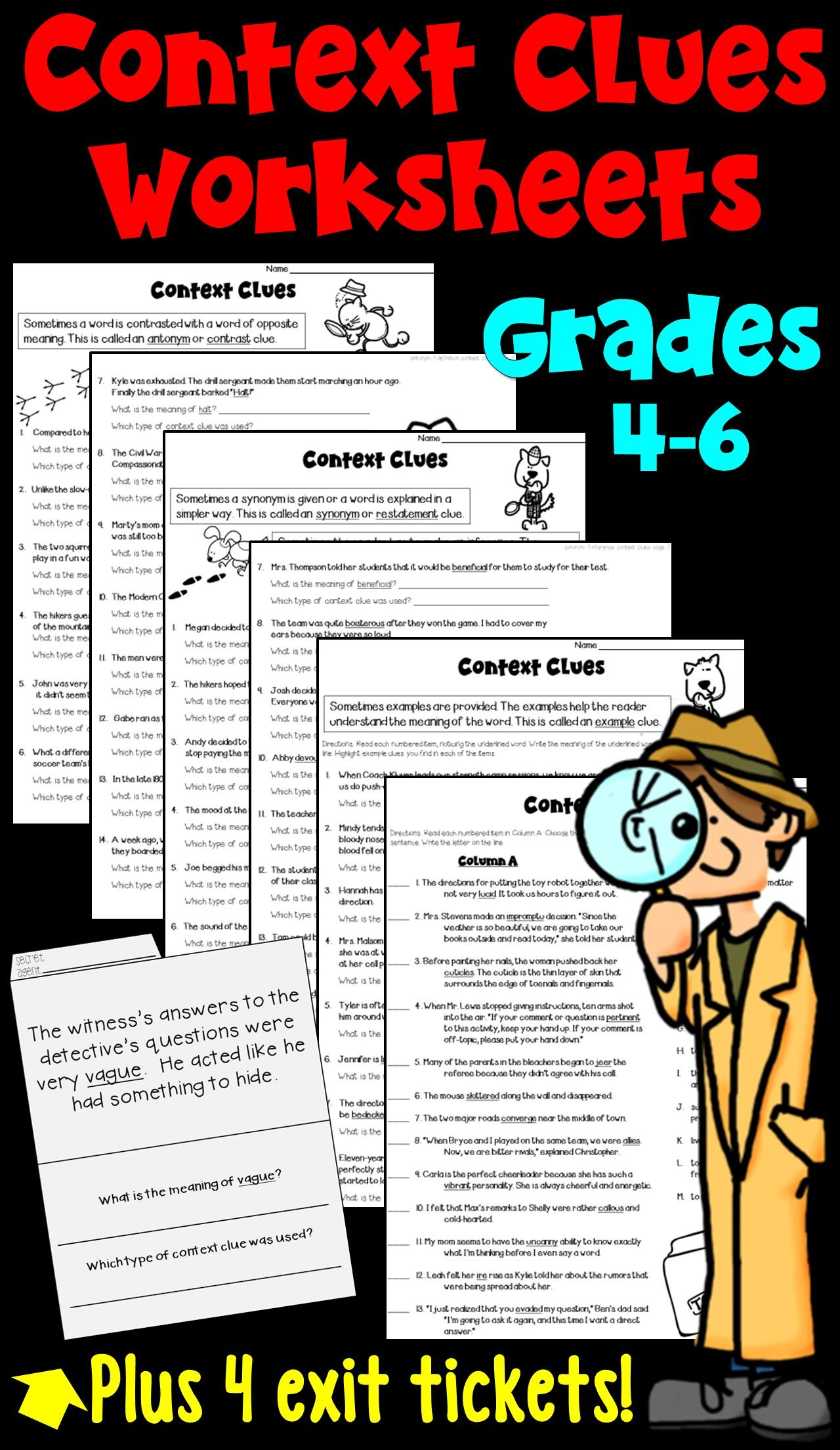 Context Clues Worksheets And Exit Tickets Focusing On 5 Types Of Clues