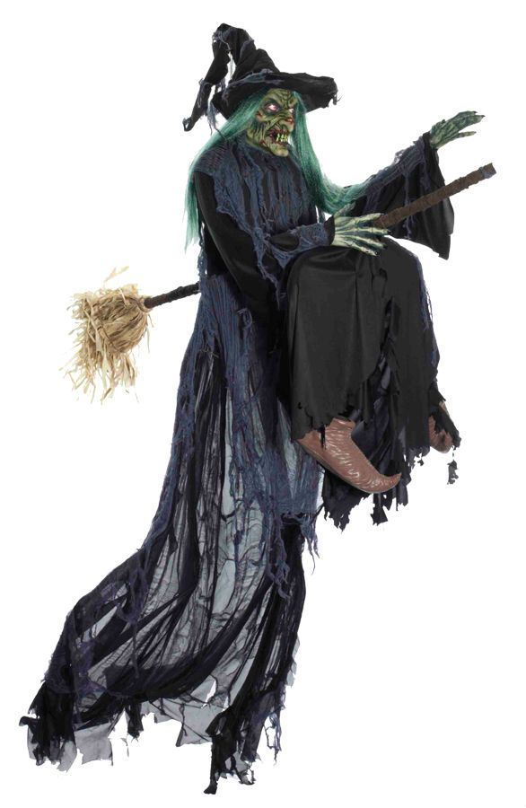 Gemmy Witch Flying Halloween Haunted House Prop Decor Scary Garden Yard Village | eBay