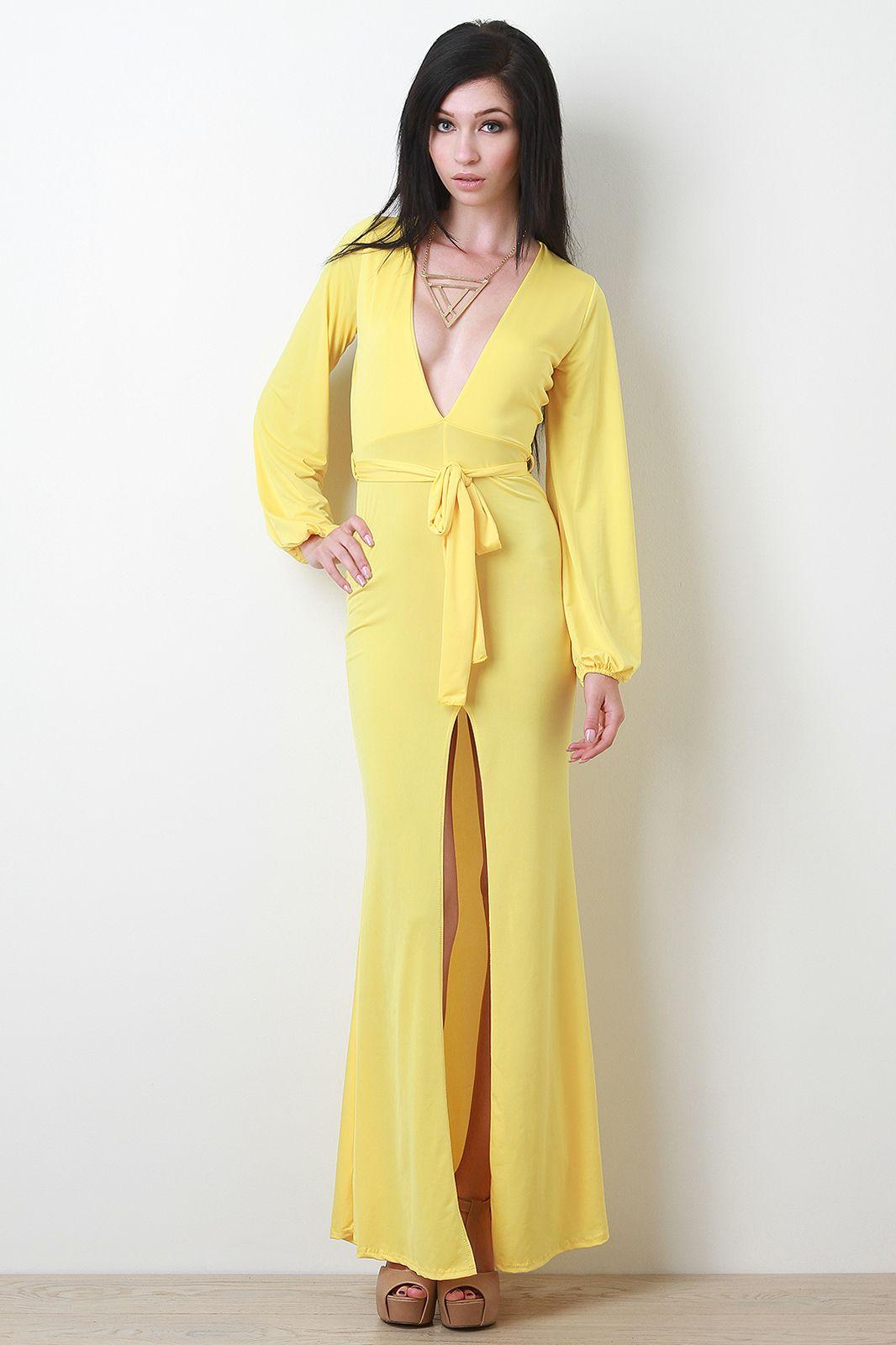 5df794c481e2 Self-tie Vent Slit Maxi Dress   FASHION ADDICT   Pinterest   Dresses ...