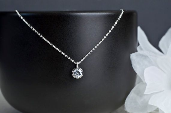 Cubic Zirconia Solitaire Necklace Tiny Cubic by CrinaDesign73, $24.00