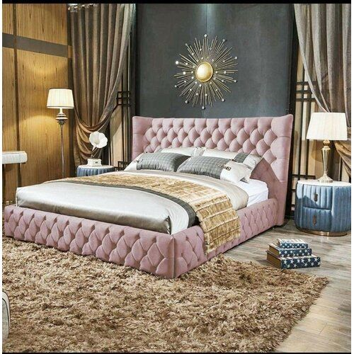 Lochlan Upholstered Bed Frame with Diamante Button