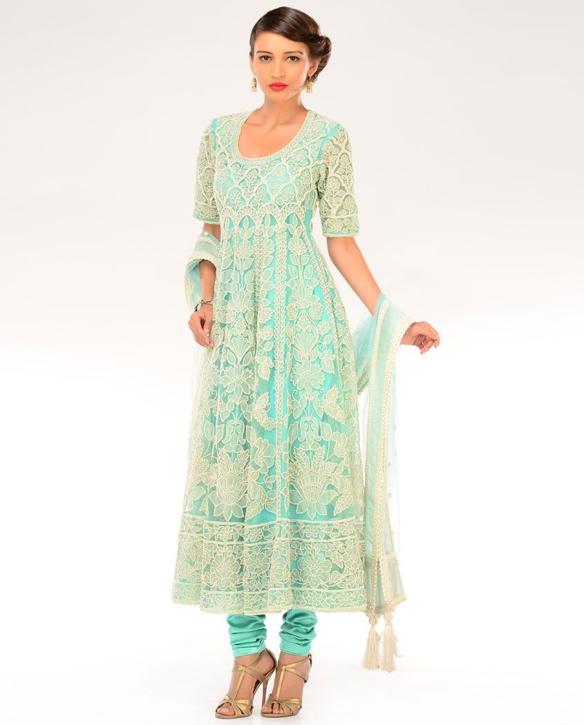 Powder Blue Kalidar Suit with Faux Pearls Flowers  by Preeti S. Kapoor
