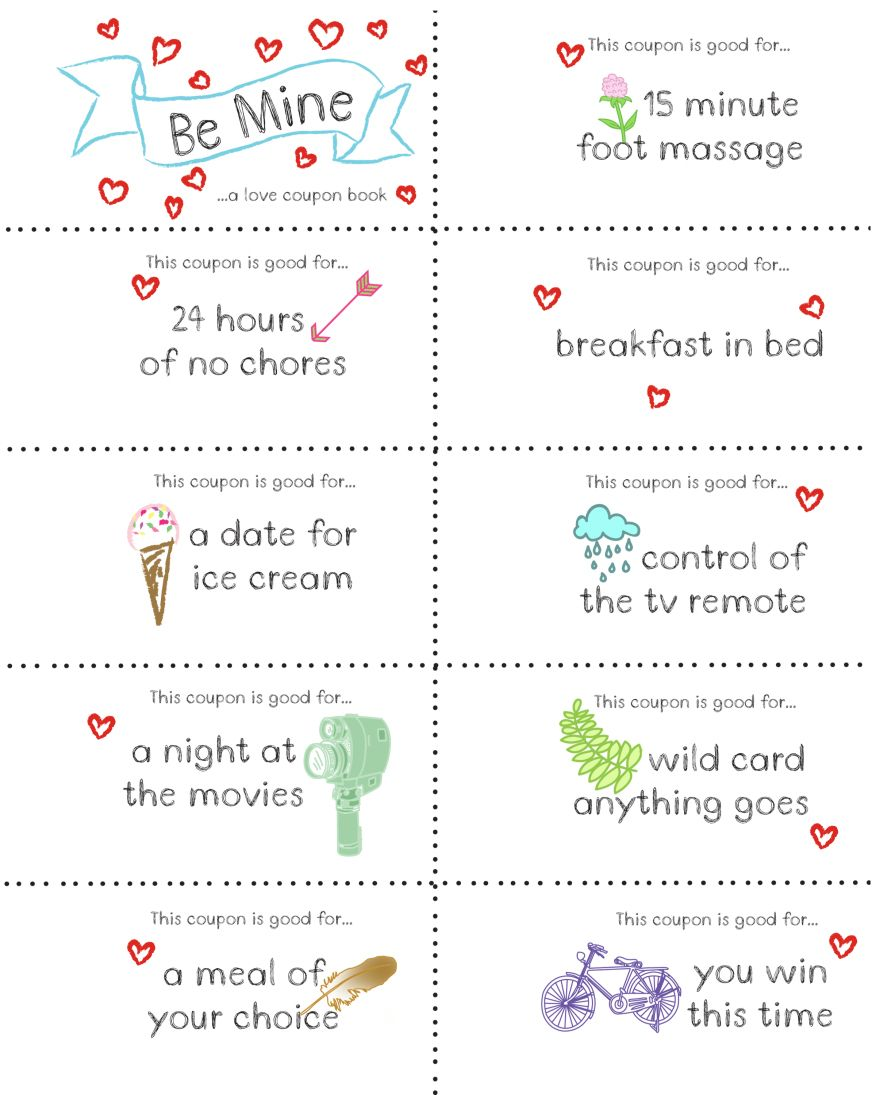 Last Minute Valentine Free Coupon Book Printable Projects To Try