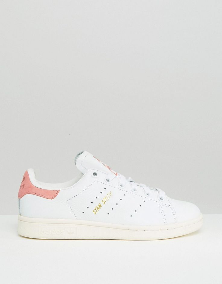 adidas originals unisex white and pink stan smith sneakers